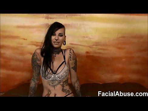 (new) Tatted freak slut Tank rough throat fucking and DP